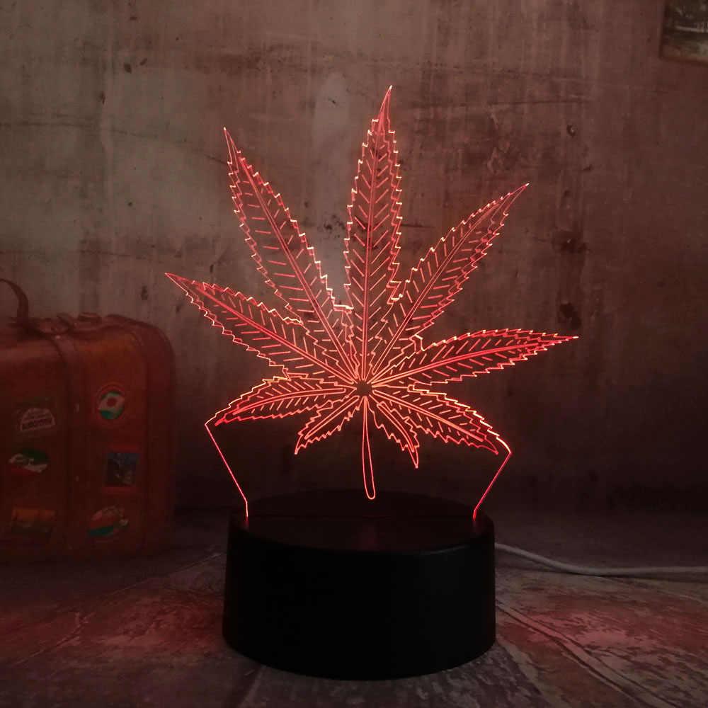 3D vacaciones marihuana 2019 lámpara Mesa hoja decoración noche juguete Nuevo Flash casa dormir luz cáñamo lámpara regalos escritorio fiesta LED vmnNw0Oy8