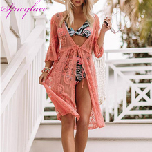 Spicylace Summer Tops Women Sunscreen Blouse Cardigan Mid Sleeve Batwing Beach Lace Hollow Out Long Holiday