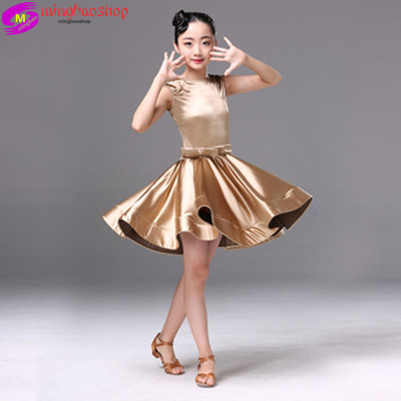 Flamengo Latin Dance Dress For Girls Latin Salsa Dress Girl Kids Spandex Rumba Samba Children Skirt Salsa Tango Dancing Ballroom