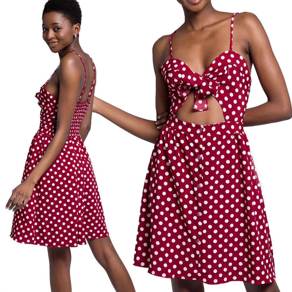 mini dress plus size with front tie waist cut out red polka dot ...