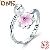 BAMOER 100 925 Sterling Silver FMagnolia Bloom Pale Cerise Enamel Open Finger Rings For Women Sterling