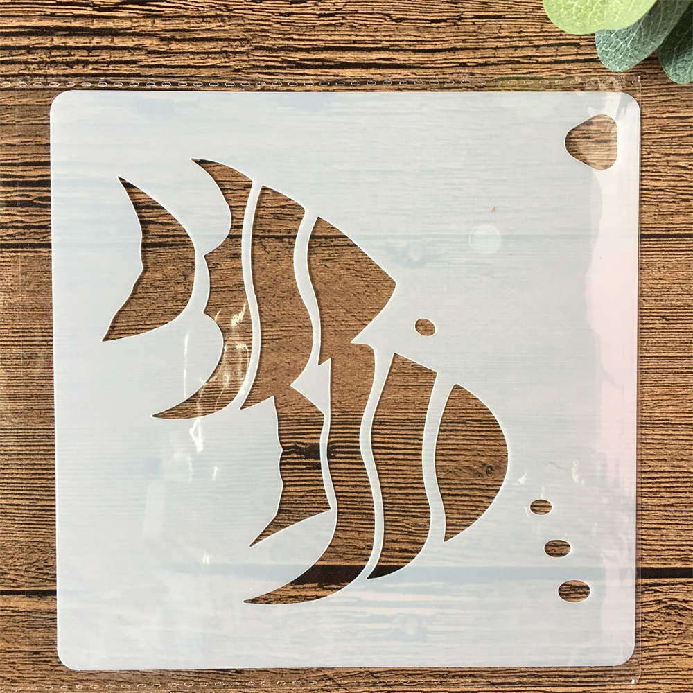 New 15cm Pair Sea Fish DIY Layering Stencils Painting Scrapbook Coloring Embossing Album Decorative Paper Card Template