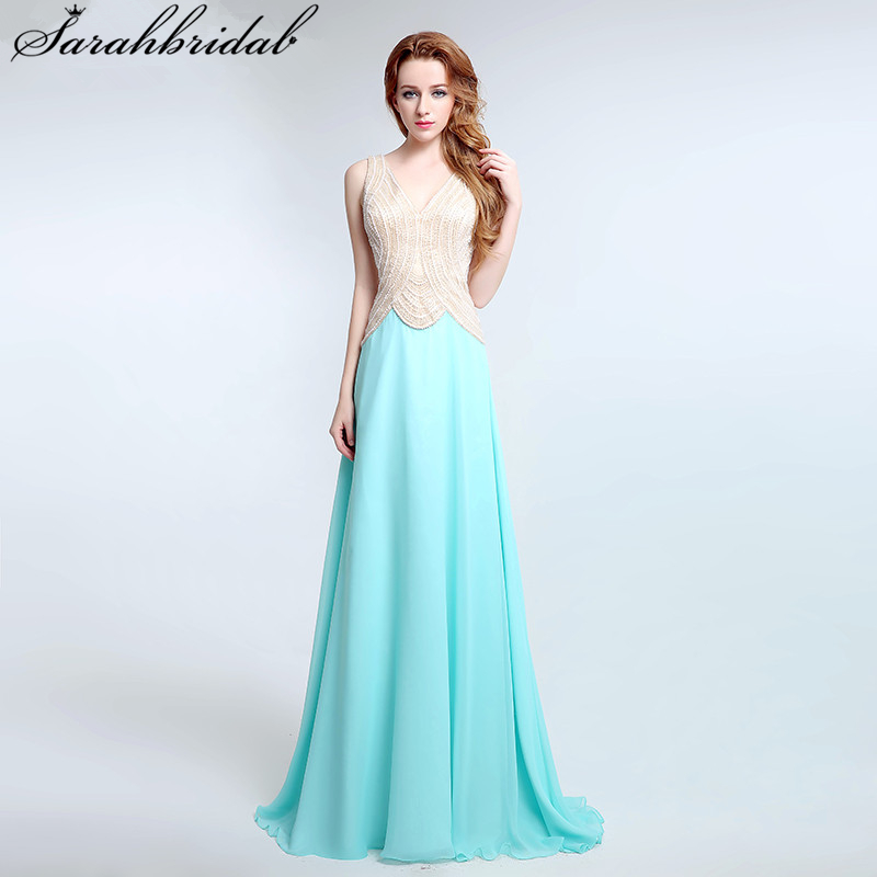 Charming ever pretty   prom     Dresses   A Line Sleeveless V Neck and HighQuality Chiffon Beading Pearls party   dresses   LSX178