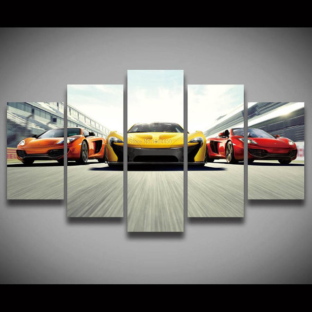 Panel Canvas Wall Art Race Car Painting Modular Picture Large Hd ...