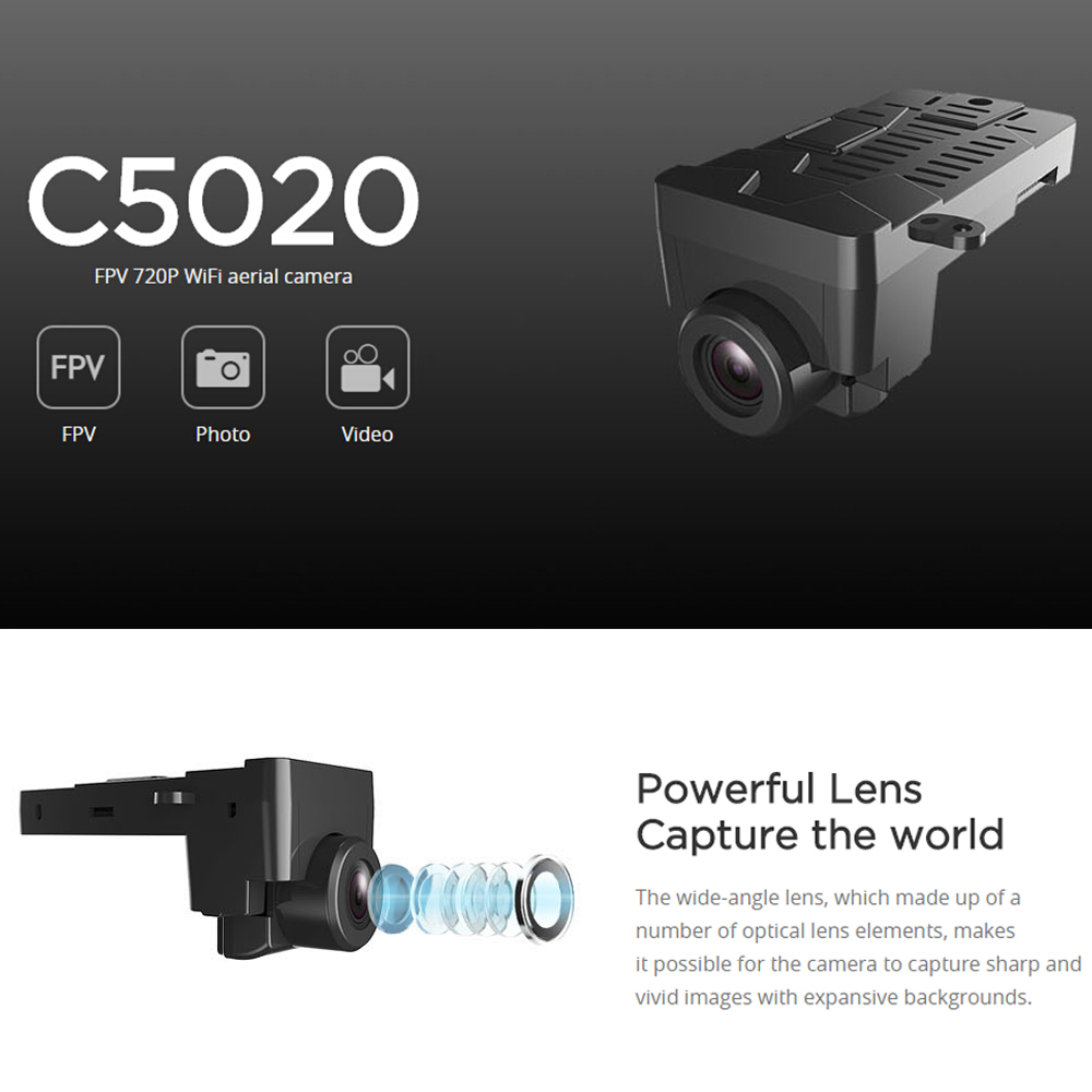 MJX C5020 720P 5G Wifi FPV Camera for MJX B3 RC Drone Bugs 3 Quadcopter mjx b3 bugs 3 upgraded triangular propeller landing gear gimbal mount camera holder accessories rc fpv camera drone spare parts