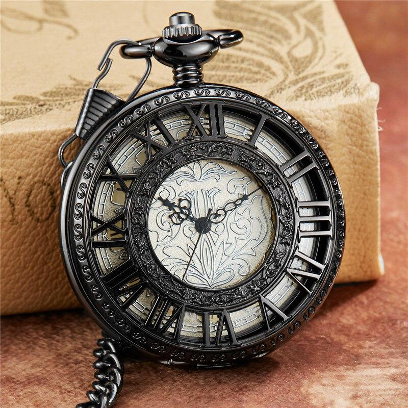 Relógio de Bolso Romanos dos Homens Retro Esqueleto Steampunk Design Pattern Fob Cadeia Algarismos Vento Mão Mecânica Relógio Masculino Oco