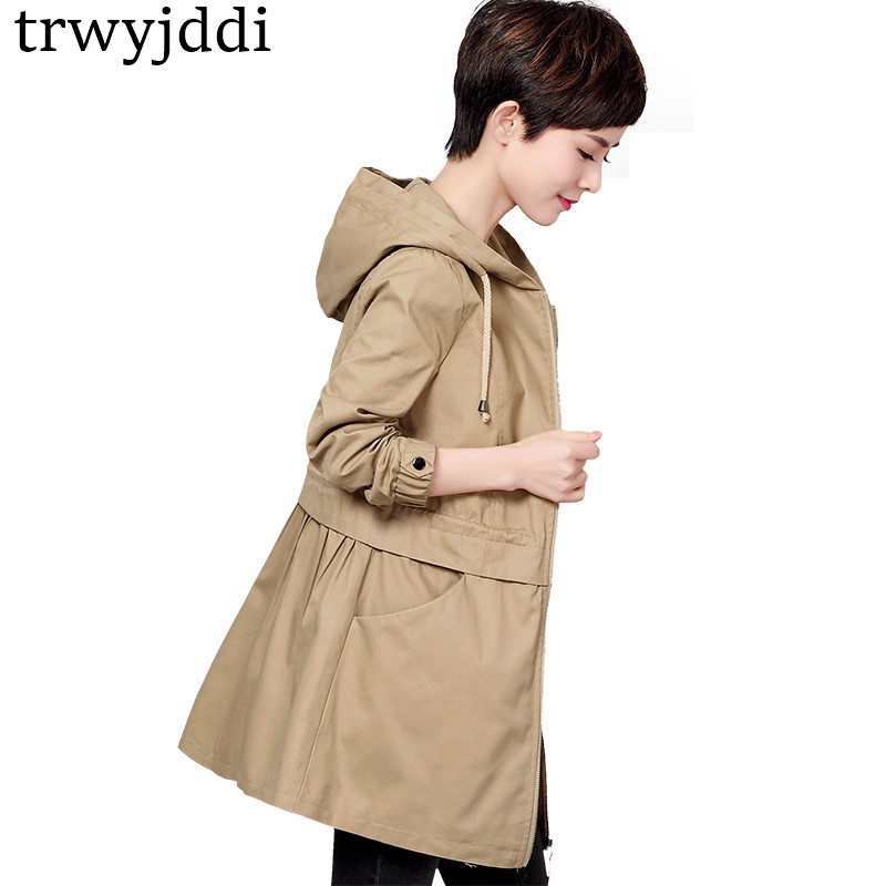 2018 Autumn New 5XL Women   Trench   Coat Long Windbreaker Pleated Fashion Trend Hooded Slim Solid   Trench   Outwear Plus Size hl255