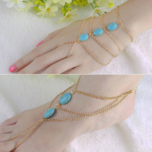 Hot 2 types Slave Chain Link Finger Hand Turquoise Harness Anklets Chain 5TZY 6SOE 7EJM BE91