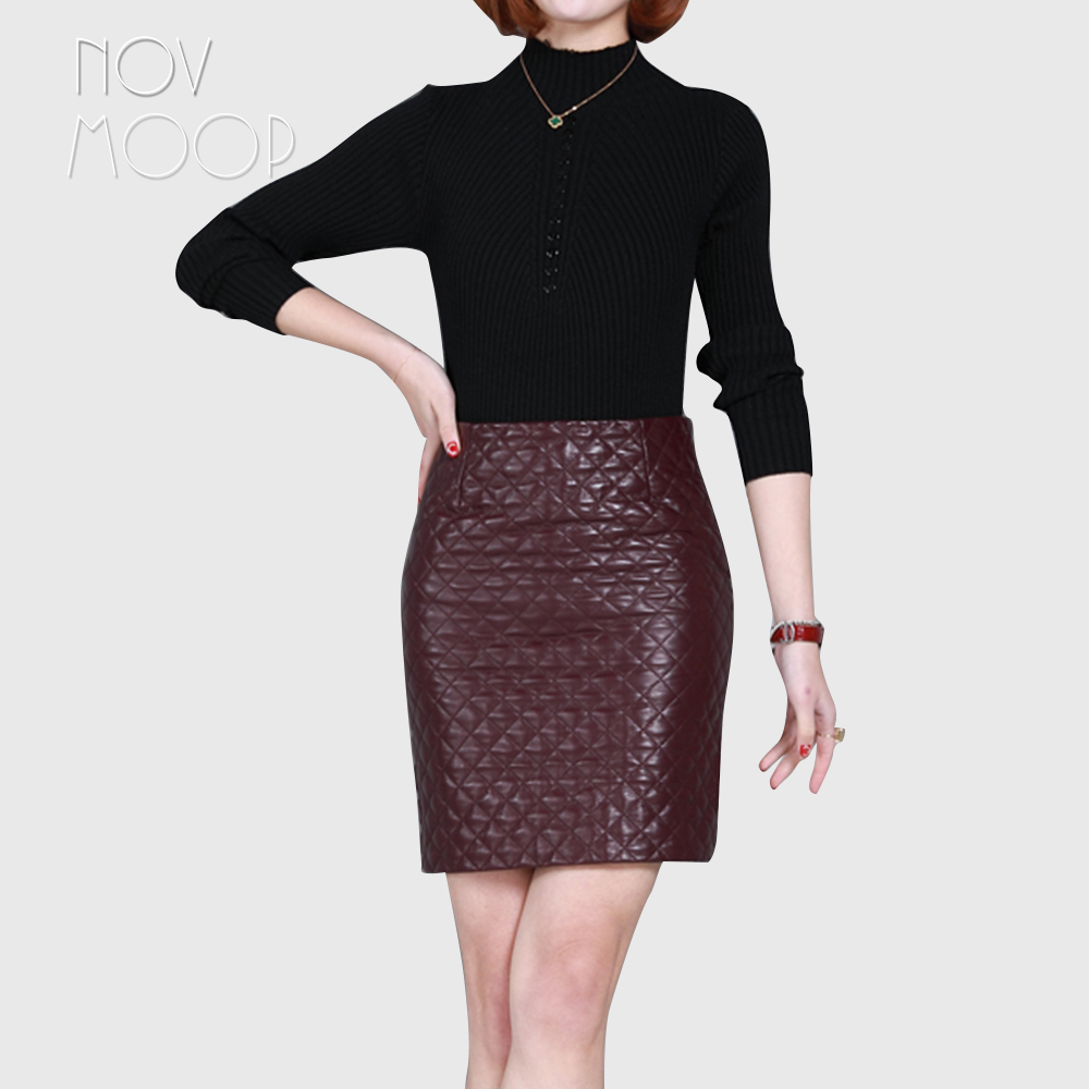 6be70fae6 Office style ladies wine red genuine leather real lambskin leather quilted pencil  skirt faldas mujer etek jupe plus size LT2355