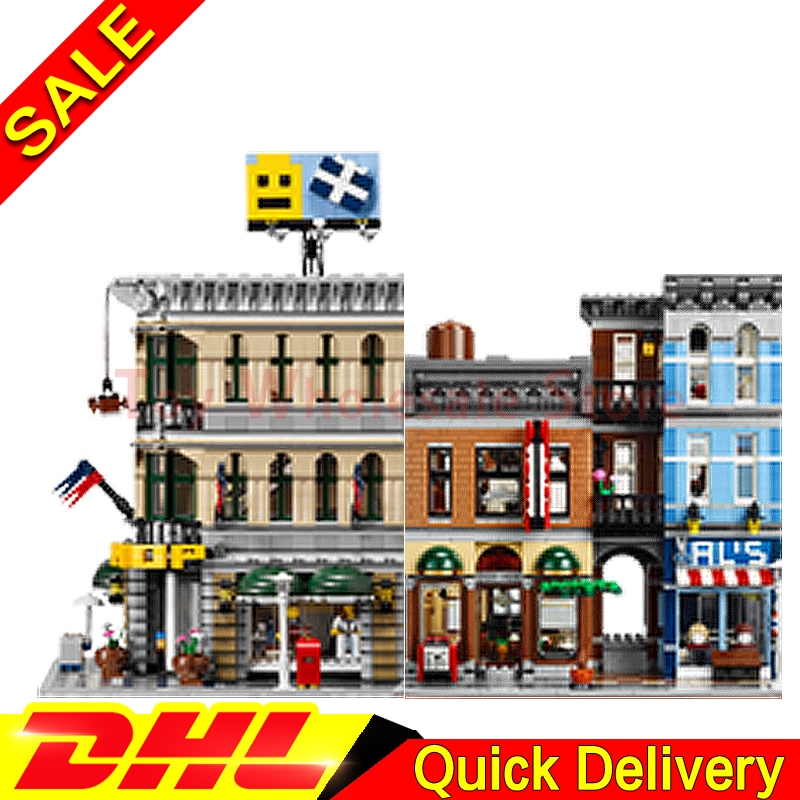 Lepin 15005 Grand Emporium + Lepin 15011 The Detective's Office Model Building Street Sight Blocks Bricks lepins Toy 10251 10197 a toy a dream lepin 15008 2462pcs city street creator green grocer model building kits blocks bricks compatible 10185