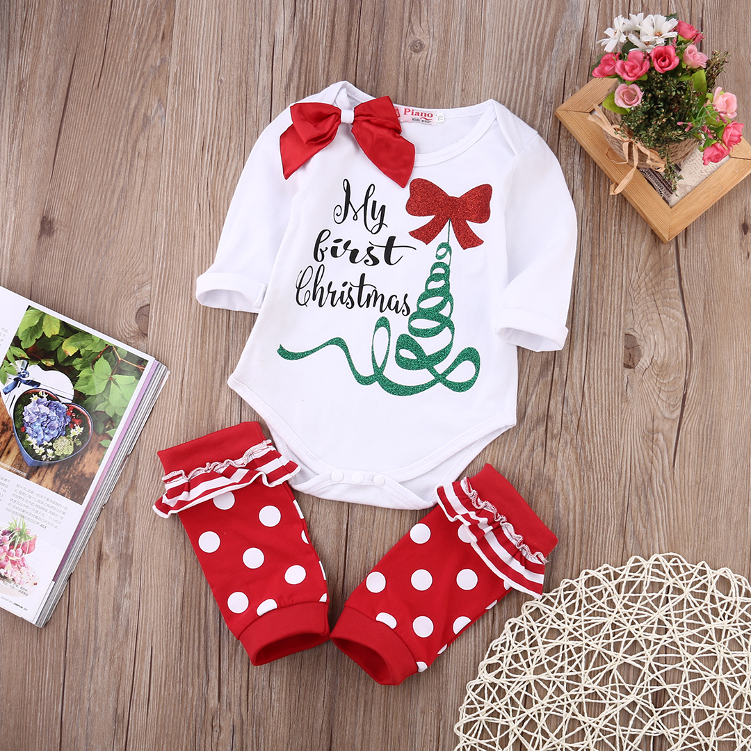 Newborn Baby Boy Girl Clothes Long Sleeve Xmas Jumpsuit