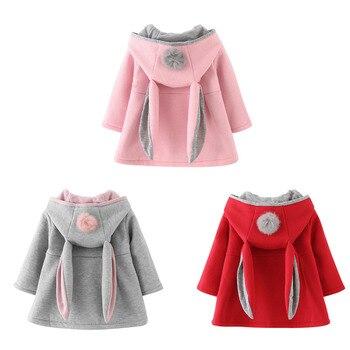 Musim Dingin Musim Semi Musim Gugur Bayi Perempuan Lucu Mantel Jaket Lengan Panjang Kelinci Telinga Hoodie Pakaian Kasual Bayi Bayi Natal Lebih Tahan Dr