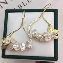 Natural Freshwater Baroque Pearl Drop Earrings For Women Wedding Dangle Flower Luxury Handmade Jewelry Fashion Exquisit