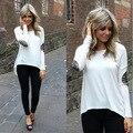 Mulheres Casuais Longo-manga comprida T-Shirt Glitter Costura Irregular O-pescoço Top roupas Assentamento Camisa Solta