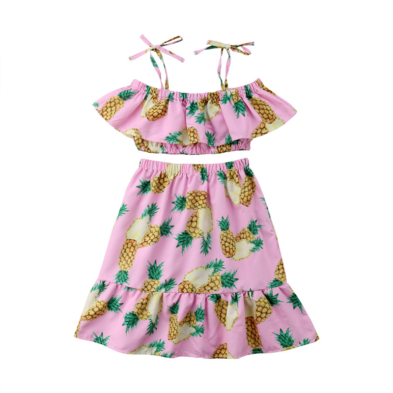 Girls' Clothing Tops & Tees Fashion Baby Children Girls Kids T Shirt Cotton Pineapple Print One-pieces Casual Dress T-shirt Kids Clothes S72 Easy To Lubricate