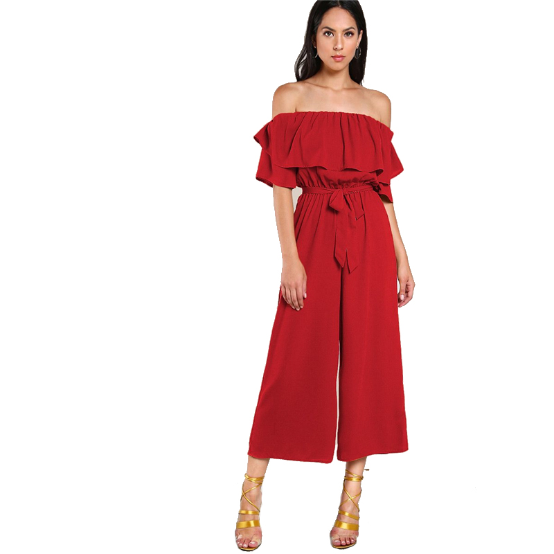 11de119c5be Sheinside Flounce Off Shoulder Self Tie Culotte Jumpsuit Summer Half Sleeve  Wide Leg Jumpsuits Women Red Ruffle Elegant Jumpsuit