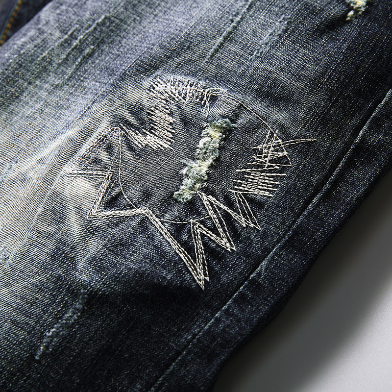 Hole elastic denim shorts male knee-length slim straight plus size breeched trend all-match capris jeans