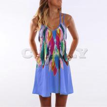 Sexy Beach Dress Women Mini Summer Dress Print Sleeveless V-Neck CUERLY Strap Dress Sundress WS804V gorgeous v neck sleeveless tropical print women s dress