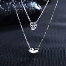 Double Layer Chain Silver Zircon Heart Pendant Necklace Jewelry