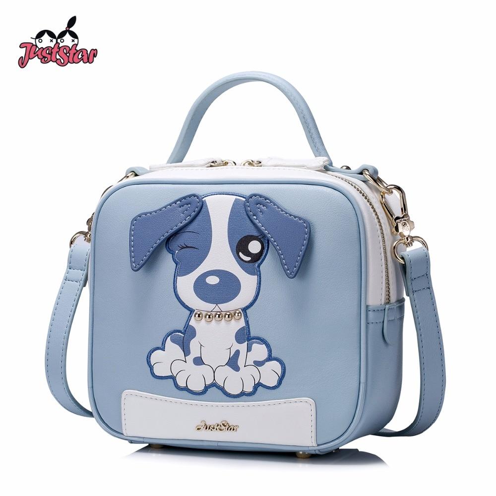 dvs dog vip star шлейка JUST STAR Women's PU Leather Handbag Ladies Embroidery Cartoon Dog Shoulder Purse Female Flap Leisure Rivet Messenger Bag JZ4518