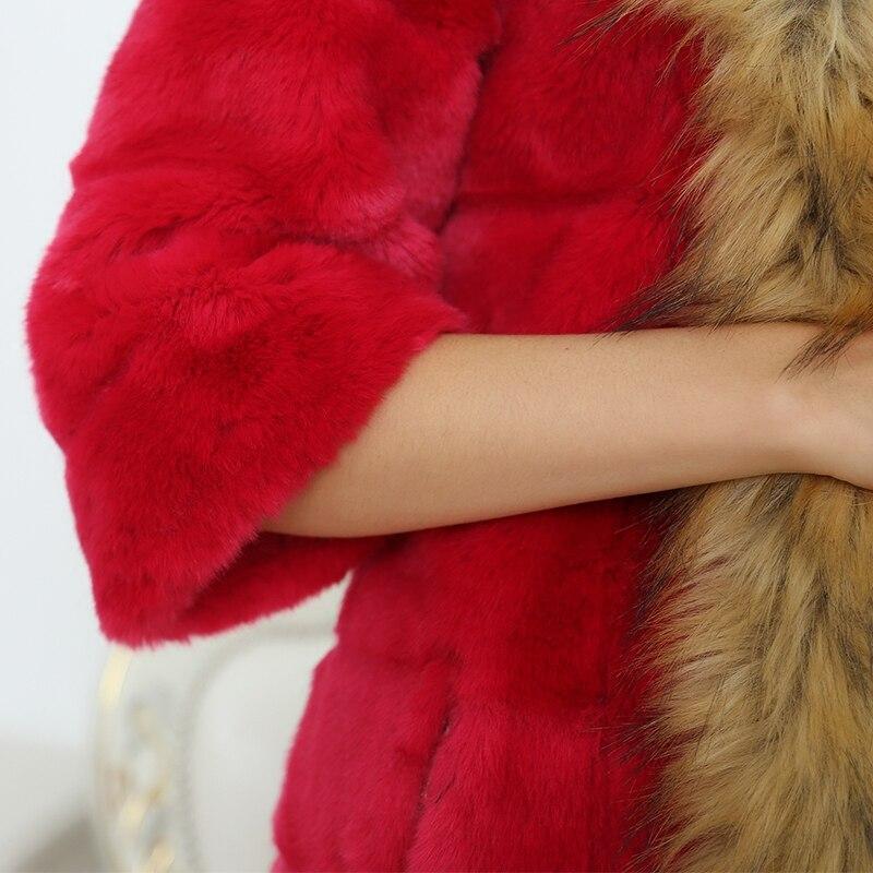 Nerazzurri Frauen Faux Pelzmantel Mit Waschbären Hund Pelzkragen - Damenbekleidung - Foto 5
