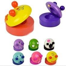 1 шт. милые Мультяшные кастаньеты детские игрушки музыкальные деревянные кастаньеты для детей подарок