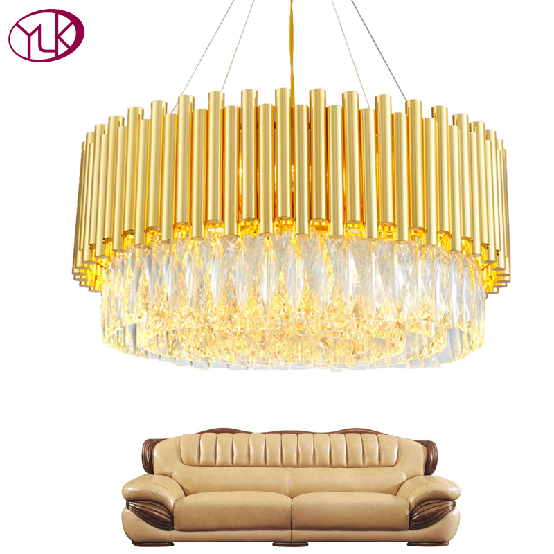 Youlaike Luxury Modern Crystal Chandelier For Living Room Round Gold Hanging Crystal Lamp Dining Bedroom LED Lighting Fixtures youlaike luxury modern crystal chandelier for dining room new arrival living room kitchen island hanging led lighting fixtures