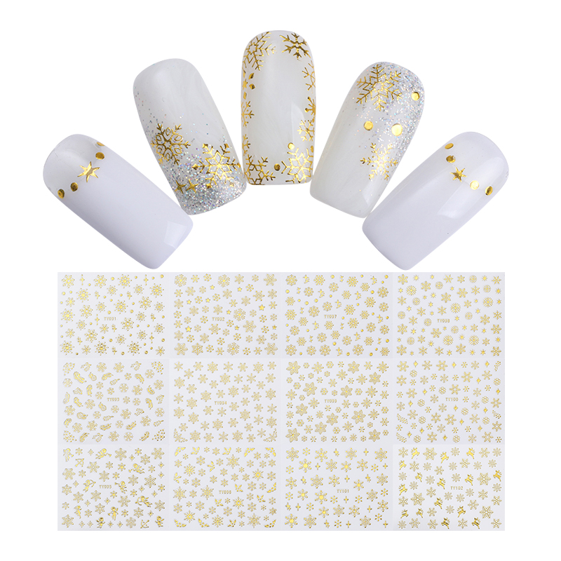 Image 4 - 1 Big Sheet Christmas Snowflake 3D Nail Sticker Santa Claus Deer Pattern Adhesive Transfer Sticker Manicure Nail Art Decals-in Stickers & Decals from Beauty & Health