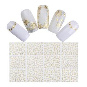 Image 4 - 1 Grote Vel Sneeuwvlok 3D Nail Sticker Kerstman Herten Patroon Lijm Transfer Sticker Nail Art Decals
