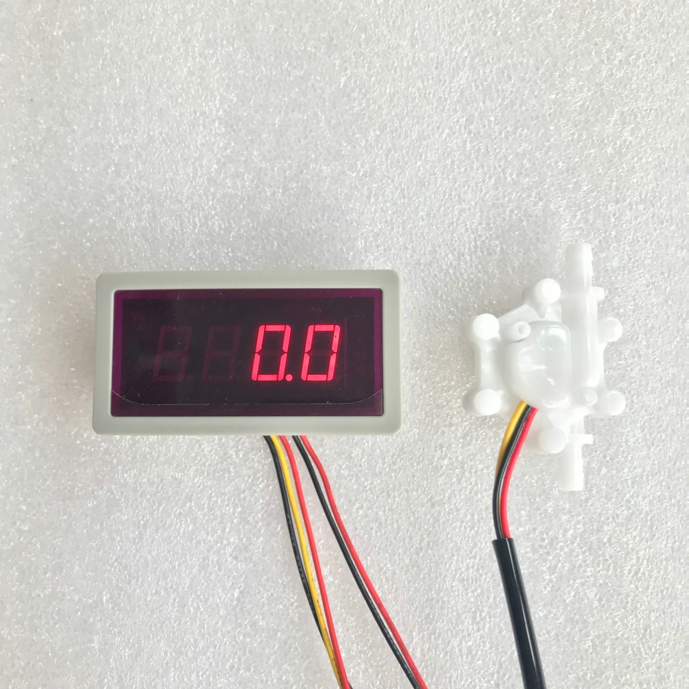 US202M Flow Meter Frequency Counter With USN-HS06PA-1 0.15-1.5L/min Hall Flow Sensor Test Can Calculate Flow Rate 5V Input
