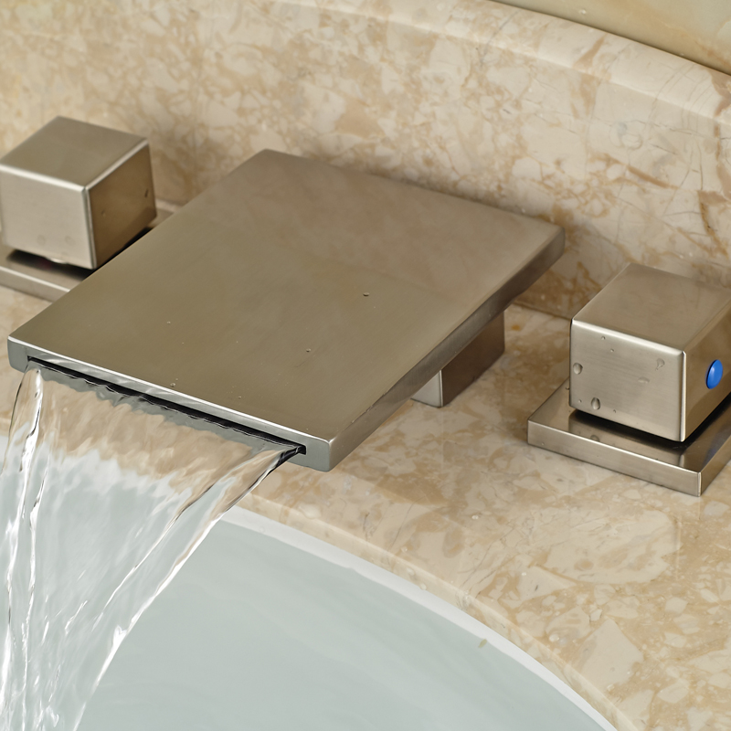 ФОТО Dual Handle Brushed Nickel Basin Faucet Deck Mount Waterfall Spout