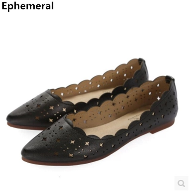 88ce834d999d0 US $27.99 |Microfiber leather breathable shoes flats for women pointy toe  black and white slip on soft ballet girls larger size 12 11 10-in Women's  ...
