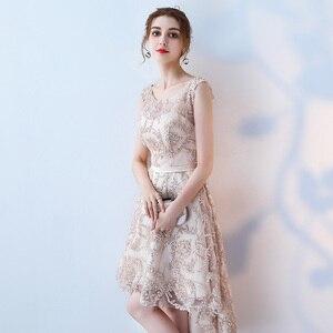 Image 2 - Robe de soiree O  Neck slim lace up Sleeveless evening dress  Short Front Long Back Party Dresses prom dresses Custom made