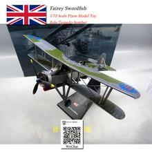 лучшая цена AMER 1/72 Scale Military Model Toys Britain Swordfish Torpedo Bomber Fighter Diecast Metal Plane Model Toy For Collection,Gift