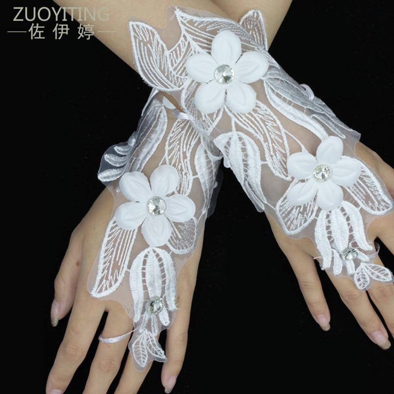 ZUOYITING witte kanten prinses bruids handschoenen mode vrouwelijke - Bruiloft accessoires