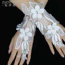 ZUOYITING бяла дантела принцеса булчински ръкавици мода женски дълъг дизайн лале цветове сватбени рокли ръкавици сватбени аксесоари  t