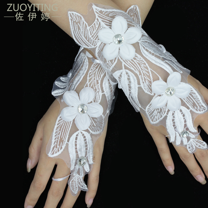 ZUOYITING White Lace Princess Wedding Gloves Fashion Female Long Design Tulips Floral Bridal Dresses Gloves Wedding Accessories