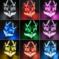 Led Mask Halloween Slow Party Festival Cosplay Face EL Mask Masks Glow Neon LED Flashing Dance