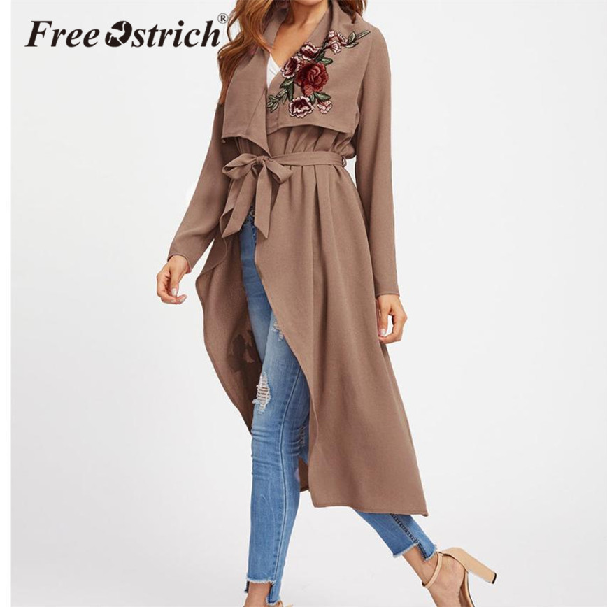 Free Ostrich   Trench   Coat Women Vintage Embroidery Sashes Floral Long Outerwear Bow Long Sleeve Ladies   Trench   Coat