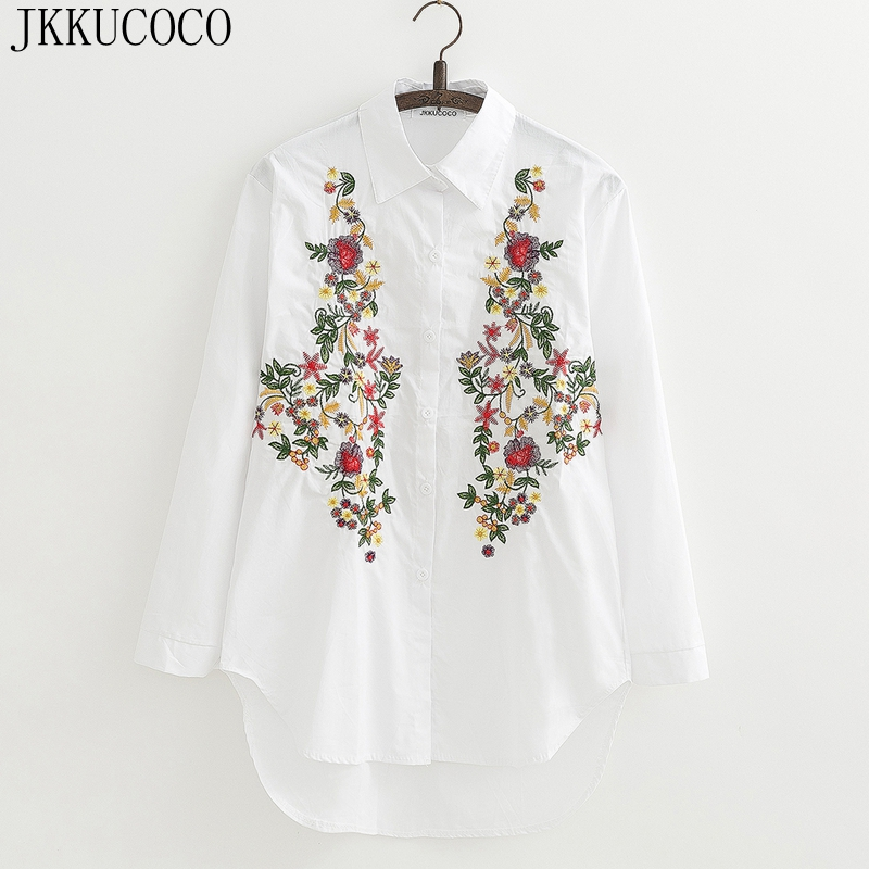 JKKUCOCO Fashion 2017 Floral Embroidery Women   Blouse     Shirt   front short back long Loose   shirts   Cotton Women   shirt   2 color C23