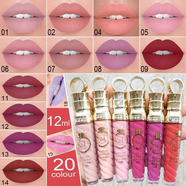 New!!Make Up Lips Matte Liquid Lipstick Waterproof Long Lasting Sexy Pigment Nude Glitter Style Lip Gloss Beauty Red Lip Tint 2