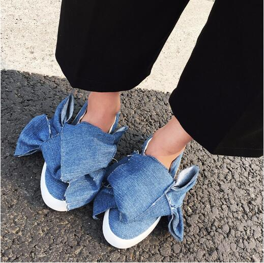 MIKISHYDA Autumn Fashion Solid Color Denim Cloth Big Bow Tie Flat Bottom jean sandals Casual font