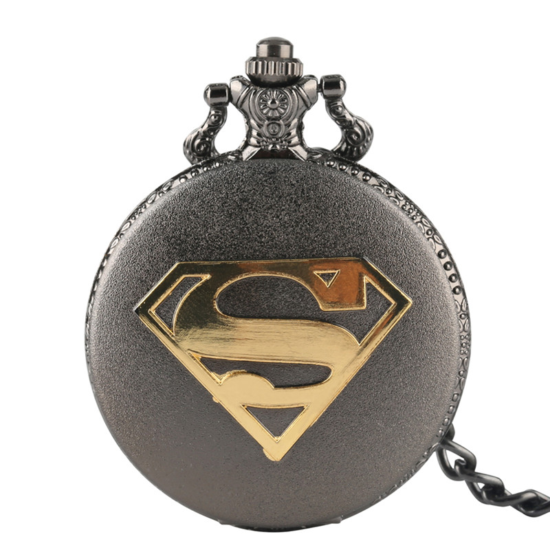 Relogio Feminino New Arrival Cool Superman Theme Pocket Watch Quartz Fob Watch With Chain Gift For Pocket Watch With Necklace