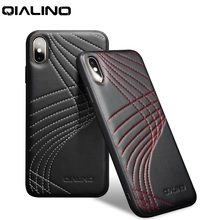QIALINO Fashion Corve Genuine Leather Phone Case for iPhone X/XS Luxury Ultra Slim Back Cover for iPhone XR/XS Max 5.8/6.5 inch
