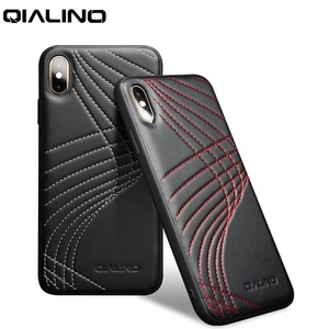 Image 1 - QIALINO Fashion Corve Genuine Leather Phone Case for iPhone X/XS Luxury Ultra Slim Back Cover for iPhone XR/XS Max 5.8/6.5 inch