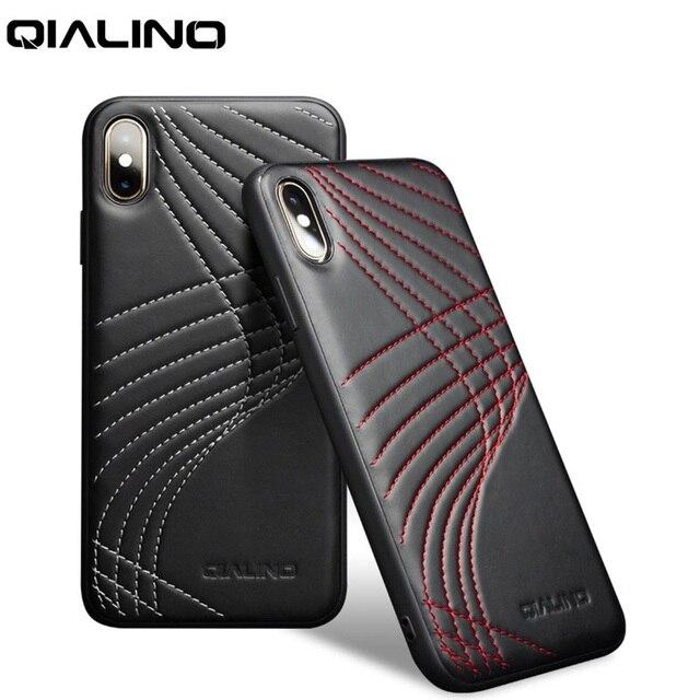 QIALINO Funda de cuero genuino con Corve para iPhone, funda trasera ultrafina de lujo para iPhone X/XS/XR/XS Max 5,8/6,5 pulgadas