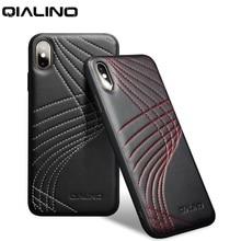 QIALINO الموضة منحنى جلد طبيعي الهاتف حقيبة لهاتف أي فون X/XS الفاخرة الترا سليم الغطاء الخلفي للآيفون XR/XS ماكس 5.8/6.5 بوصة