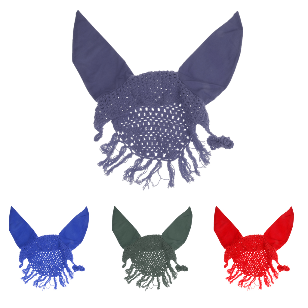 Lightweight Crochet Cotton Rhinestone Horse Ear Net Mask Anti-fly Bonnet Veils for Outdoor Sports Riding Equipment Tools