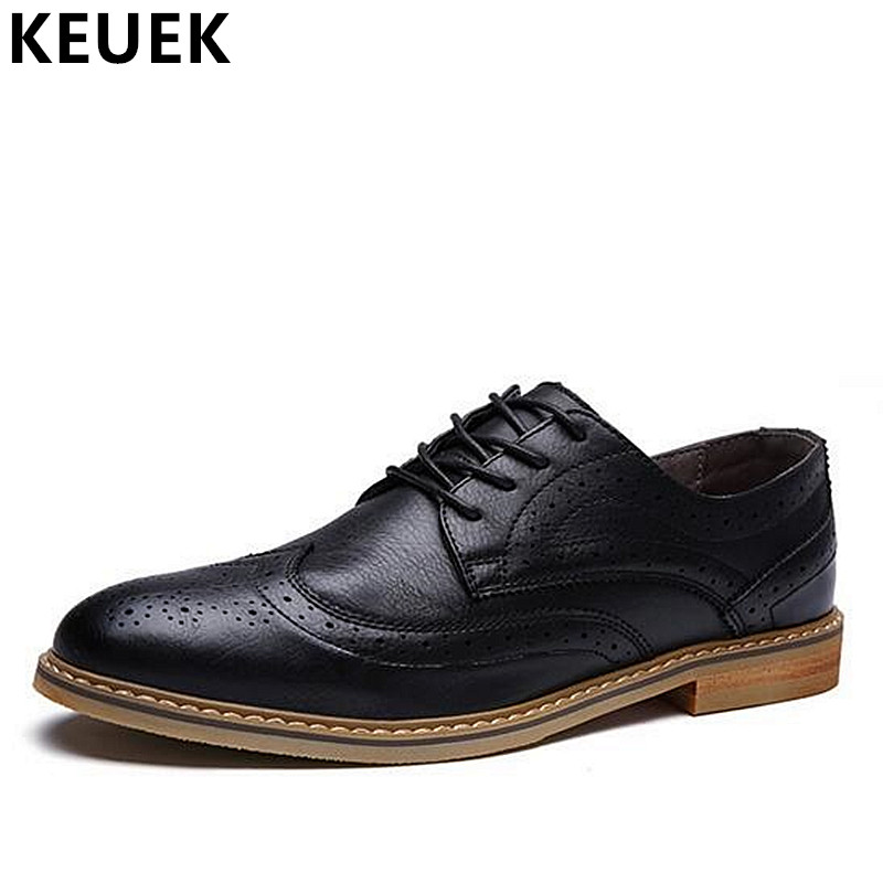 Spring Autumn Men Fashion Leather shoes British style Pointed Toe Casual leather shoes Male Brogue Shoes Oxfords Flats 02C men flats fashion genuine leather carved dress shoes elevator slip on brogue shoes oxfords spring autumn male loafers 1 9