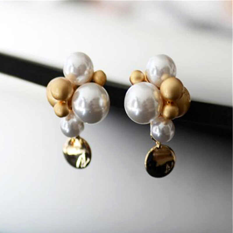 MHS.SUN Hot Sale Classic Pearl Shiny Earring For Women Classic Earring Earrings Famous Brand Design Trendy Jewelry For Girl